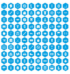 100 kettlebell icons set blue vector