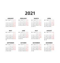 2021 yearly calendar vector