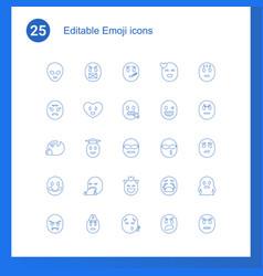 25 emoji icons vector
