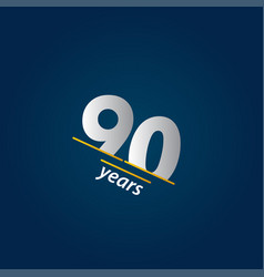 90 years anniversary celebration blue and white vector