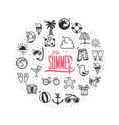 A set of summer icons hello summer banner of vector