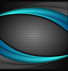 abstract waves on dark perforated metallic vector image