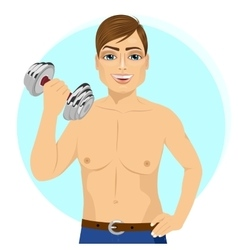 active handsome young man with dumbbell vector image
