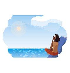 Afro woman contemplating horizon in lake and vector