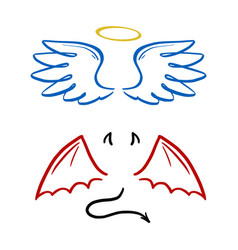 Angel and devil stylized vector