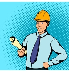 Architect worker concept comics style vector image