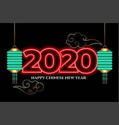 Attractive 2020 neon style happy chinese new year vector