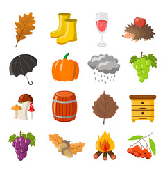 autumn cartoon and flat style icon objects se vector image