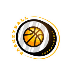basketball league logo with ball yellow color vector image