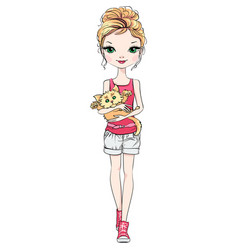 Beautiful fashion girl with cat vector