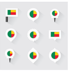 benin flag and pins for infographic and map design vector image