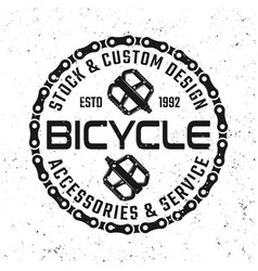 bicycle emblem badge label with pedals vector image