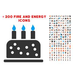 birthday cake icon with bonus energy collection vector image