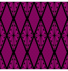 Black lace seamless pattern on pink vector image
