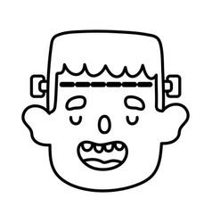 Boy face frankenstein trick trick or treat happy vector
