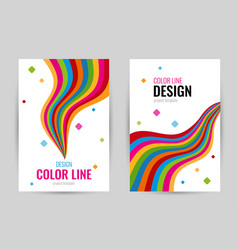 Bright cover with bright rainbow line on white vector