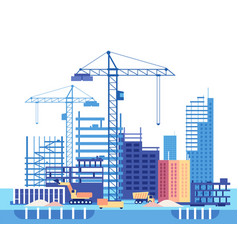 Building house work process of buildings vector