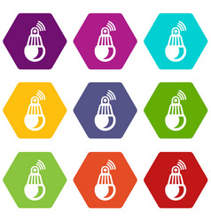 bulb icons set 9 vector image