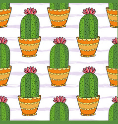 Cactus seamless pattern colorful cartoon flowers vector