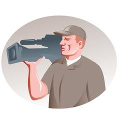 Cameraman film crew shooting vector