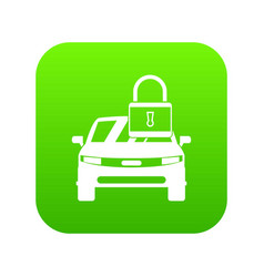 car with padlock icon digital green vector image