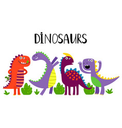 cartoon emotional dinosaurs isolated on vector image