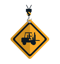 Caution diamond emblem with laborer in forklift vector