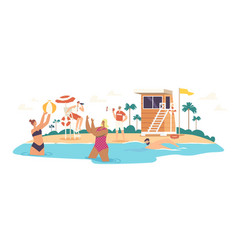 Characters relaxing on sea coastline with beach vector