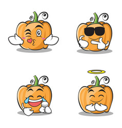 Collection of pumpkin character cartoon style set vector