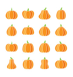 colorful halloween pumpkin icon set flat design vector image