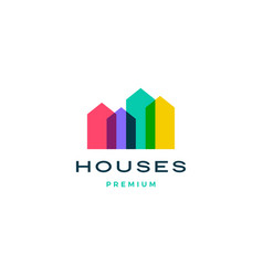 Colorful house home mortgage roof architect logo vector