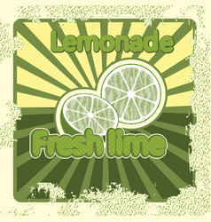 Colorful vintage lemonade lime label poster vector