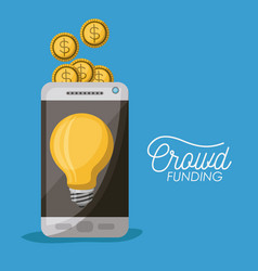 crowdfunding poster of smartphone with light bulb vector image