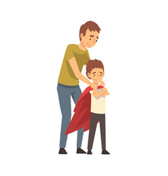 dad straightens his child s cloak cartoon vector image