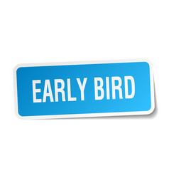 Early bird square sticker on white vector