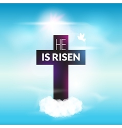 Easter christian celebration He is risen cross sky vector