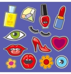 Embroidery fabric vinyl collection sweet patches vector