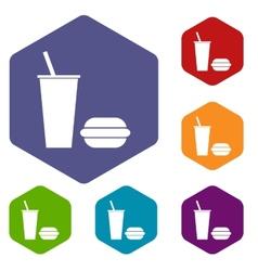 Fast food rhombus icons vector image