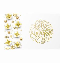 Feliz navidad merry christmas spanish golden vector