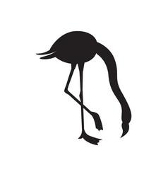 Flamingo bird black silhouette with bowed head vector