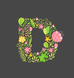 Floral summer letter d flower capital wedding vector