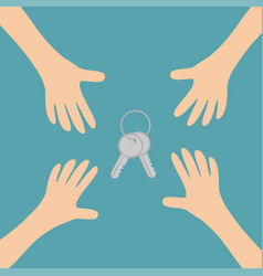 four hands arms reaching to house key set sign vector image