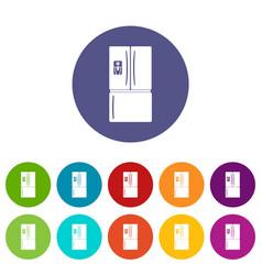fridge icons set color vector image