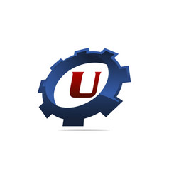 Gear logo letter u vector
