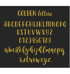 gold glitter handwritten latin calligraphy brush vector image