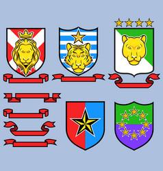 Golden big cat royal emblem vector