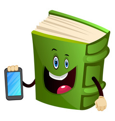 Green book is holding a mobile phone on white vector