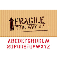 grunge fragile box sign with arrow up on piece vector image