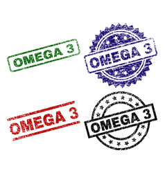 Grunge textured omega 3 seal stamps vector