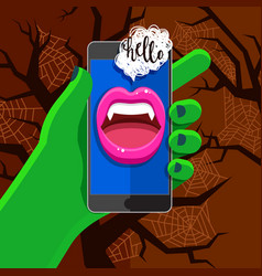Halloween concept green hand holding a phone vector